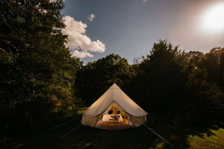 Glamping tent on a peaceful farm