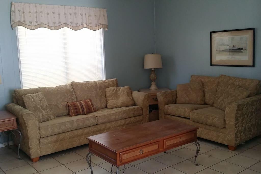 Living room has a sleeper sofa that sleeps 2 people