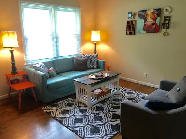 Eclectically styled. Cozy, and clean.  Bring pets!