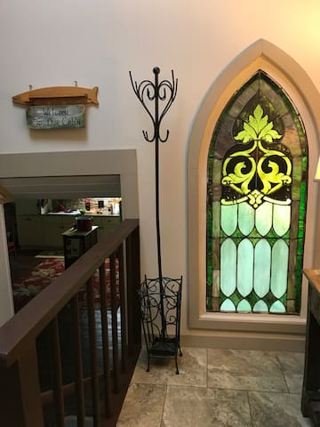 Entrance area with gorgeous stained glass window