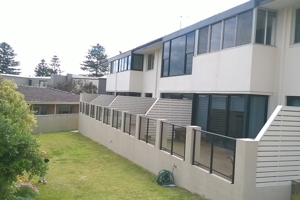 The unit is situated on the bottom floor of an 8 unit apartment block. It includes a private balcony, perfect  for relaxing with a book or glass of wine.