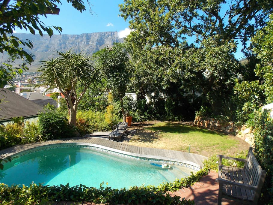 Table Mountain view from patio with use of secluded pool