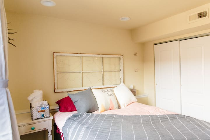 Complete with a window pane headboard that lights up.