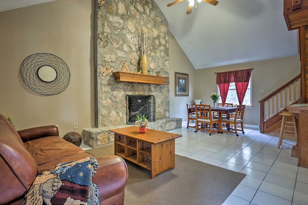 Look forward to downtime spent by the wood-burning fireplace.