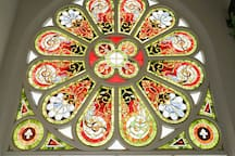 Breathing view of our beautiful stained glass windows in the lobby!