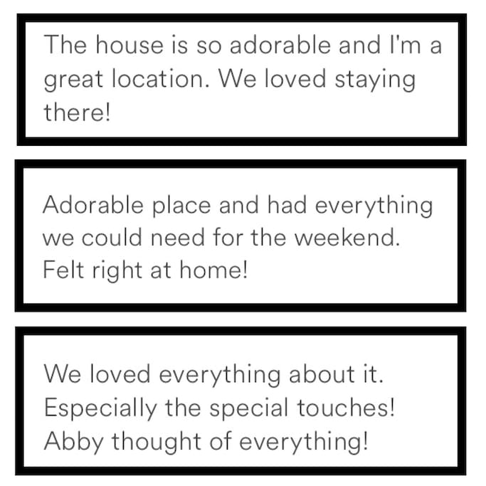Our reviews speak for themselves!  The avg US hotel room is 325 square feet.  With Studio BC you get nearly twice that for a fraction of the cost!