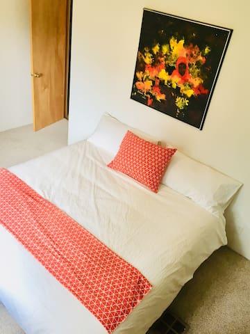 Bedroom #1 w/king bed, closet, tv, dvd, vhs
