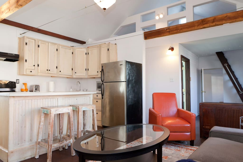 Upstairs kitchen and living area