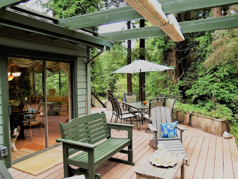 Enjoy a BBQ lunch out on the deck among the redwoods