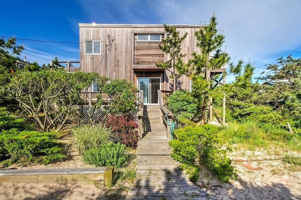 This 2,000-square-foot home is located just across the street from the beach!