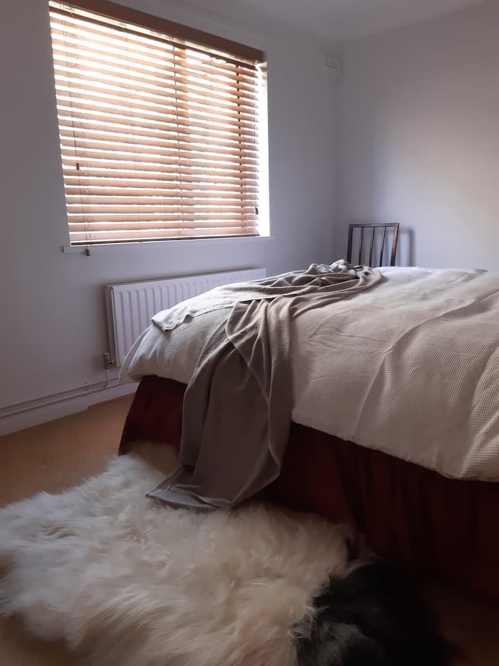 Quiet queensize rm, feather duvet & new bathroom