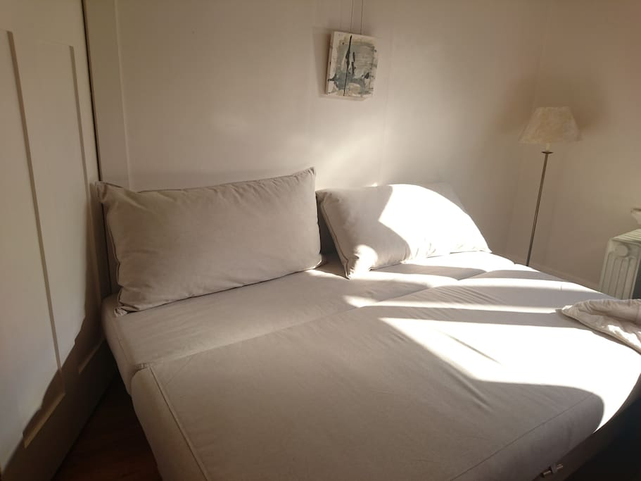 sun -filled bedroom has one double sofa bed and one King single bed