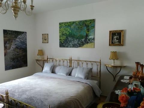 In a villa, privat bedroom and bathroom