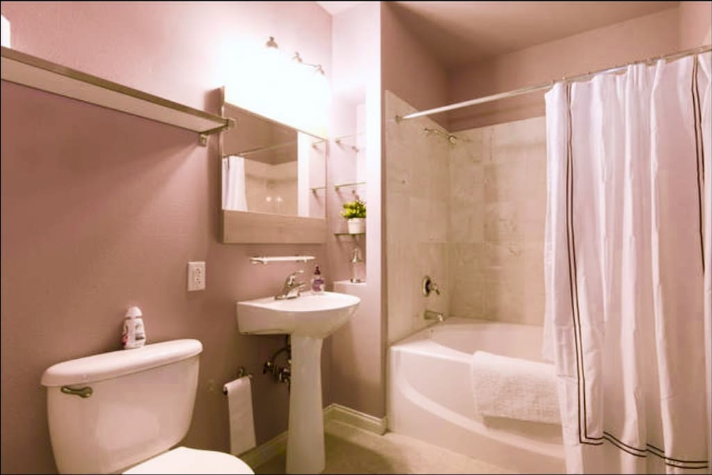 Your clean private bathroom with a large walk-in closet.
