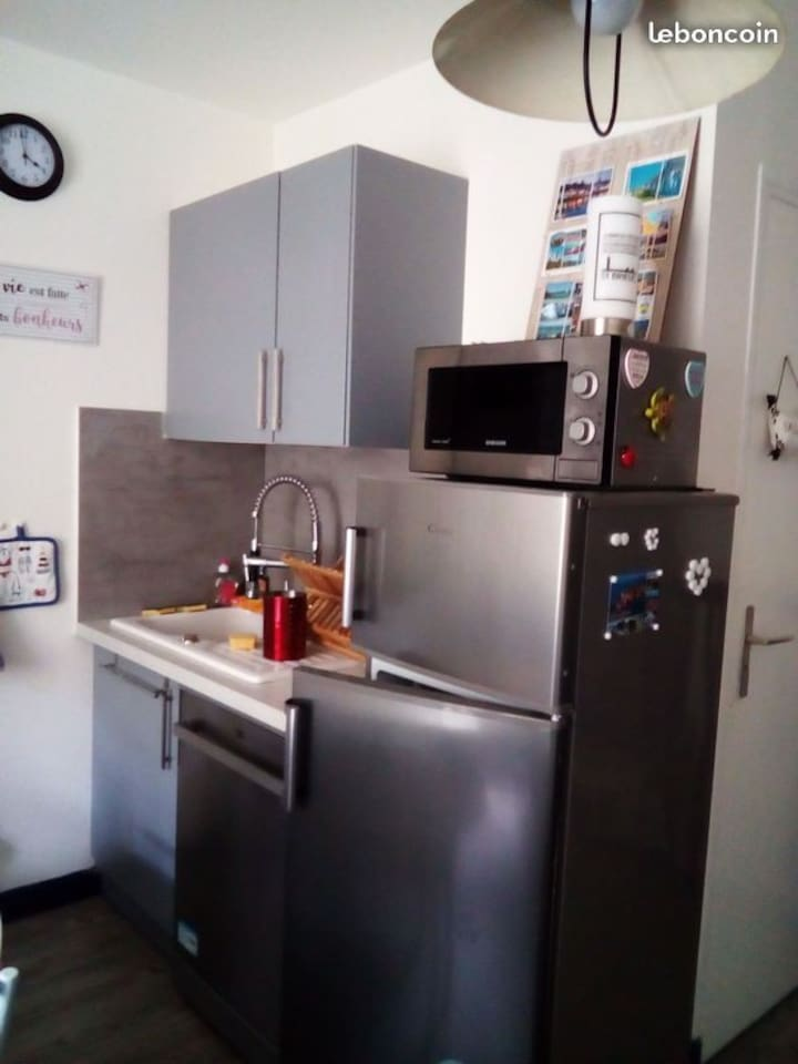 Le côté droit de la cuisine, évier, meuble de rangement, lave-vaisselle, frigo