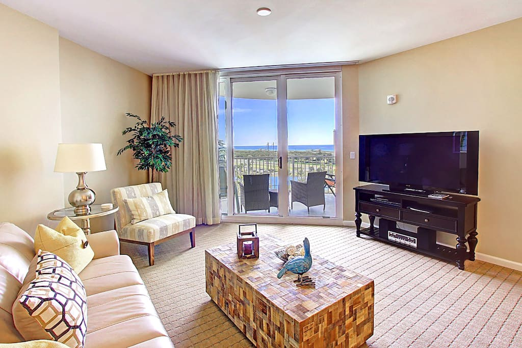 Huge flat screen TV and gorgeous view