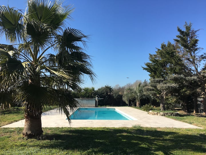 Bedroom in villa in Frejus, naturists only