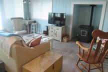 living room - cozy around the pellet stove