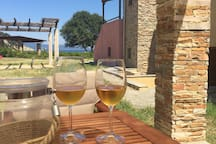 Enjoy a glass of wine at the private pergola terrace with the sea view