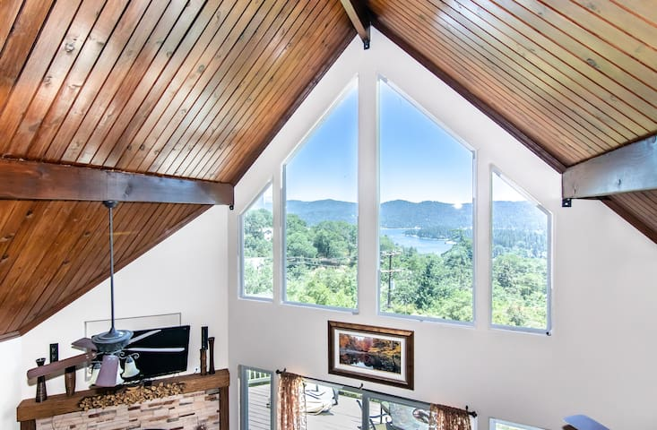Lake and mountain views from the upstairs Master Bedroom