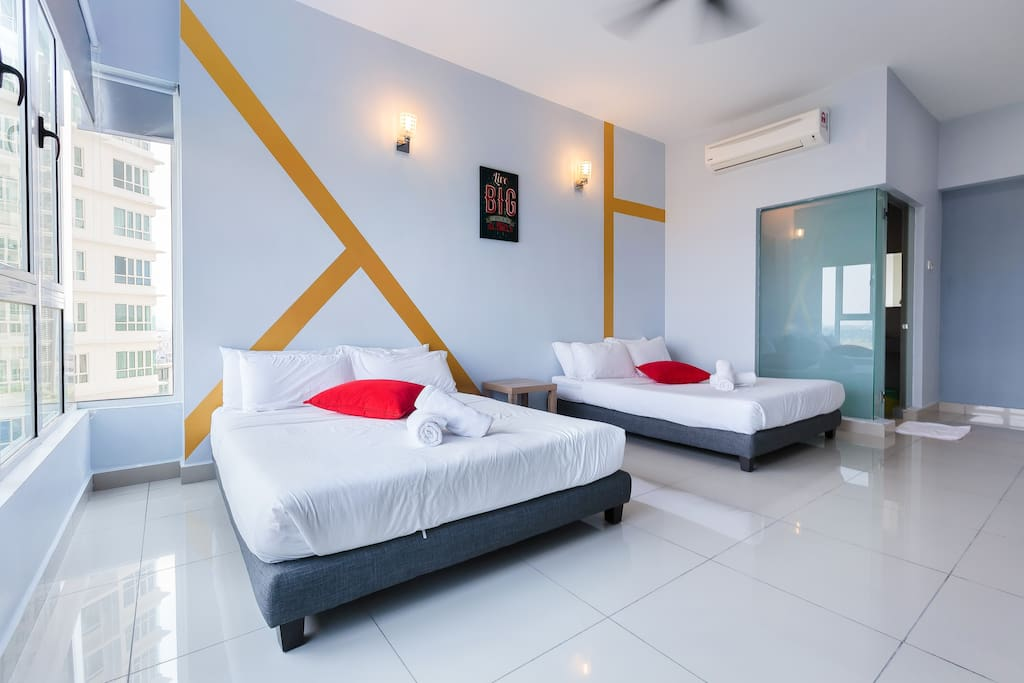 1st Bedroom with attached toilet - Ultra Soft mattress, guarantee good sleep - 1st & 2nd Queen Bed (Air-Conditional)
