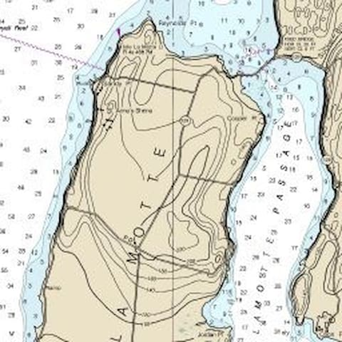 Lake Depth Chart - We are on the right side of La Motte Passage