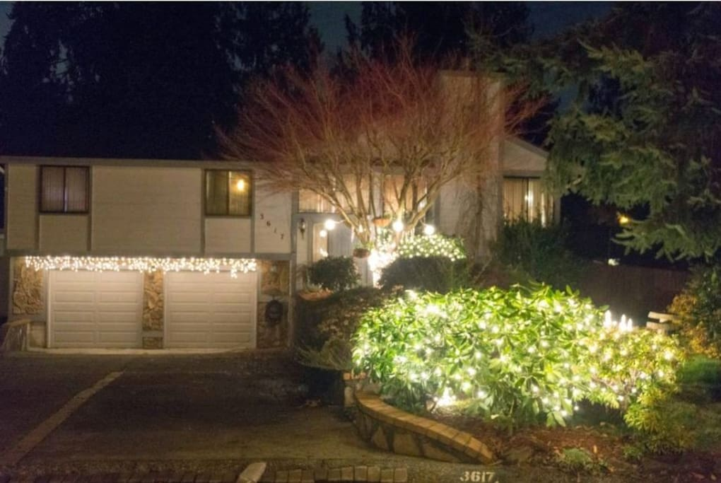 This is the front view of home. Christmas lights in full effect :)