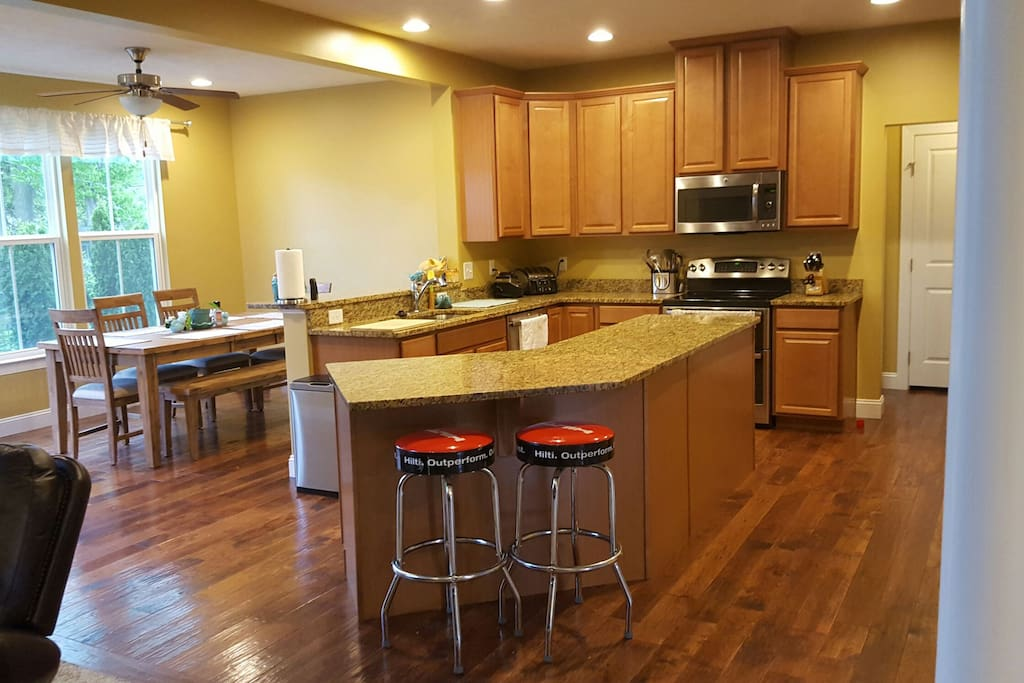 Kitchen opens to living room and morning room