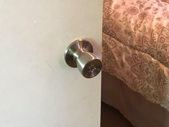 Bedroom #2 features a lockable door for extra privacy