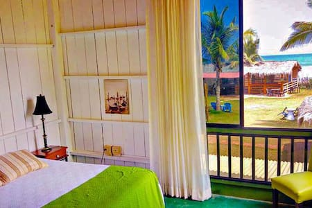 room 1:  1 queen bed + 1 single bed (3 people capcity). amazing beach views