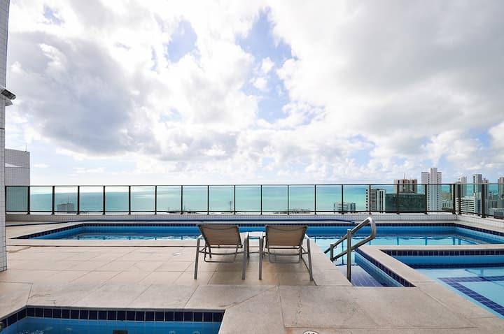 Hotel apt, 2 bdr, 2 bath, Boa Viagem beach (2205)
