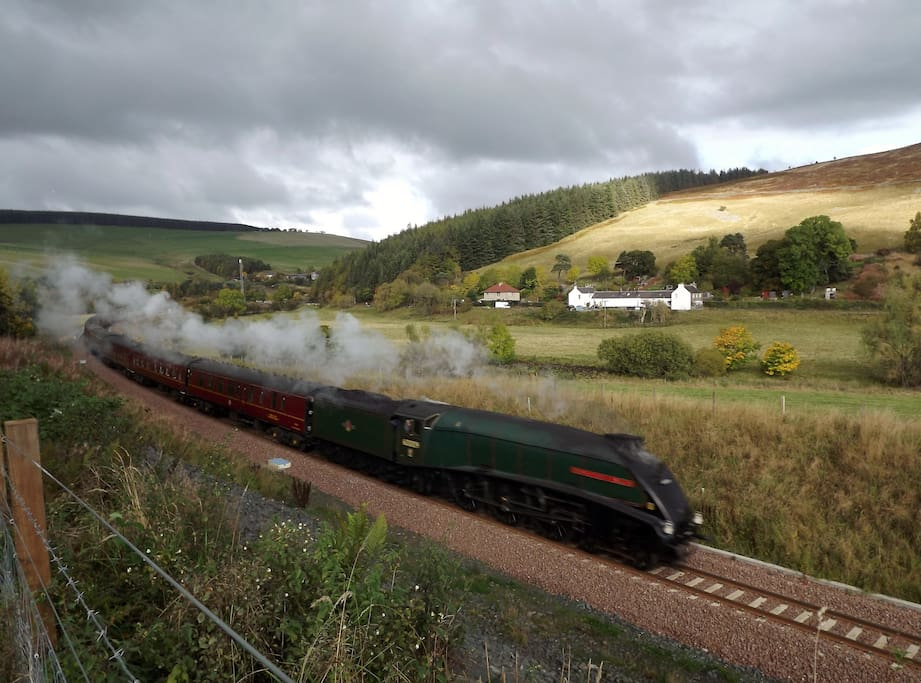 Steam train on our recently reopened railway towards Galabank