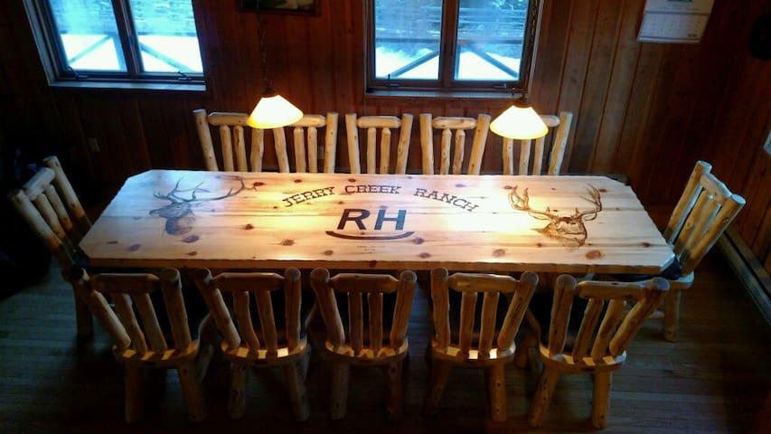 Rustic Log Table, with  Custom Wood Burning