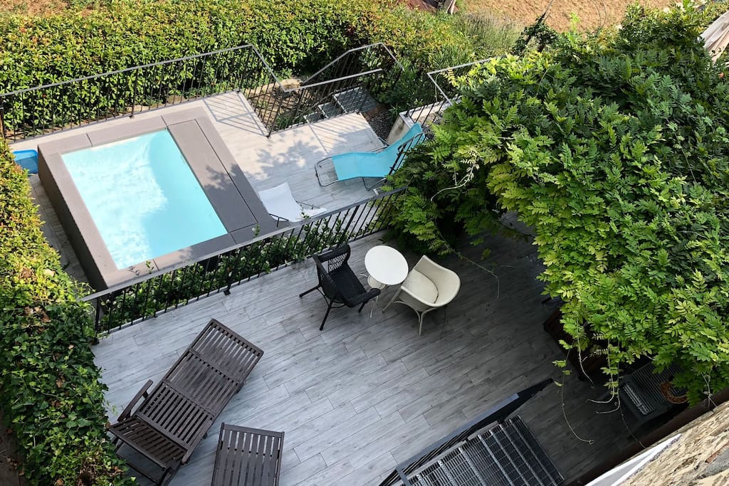 sun deck with private plunge pool