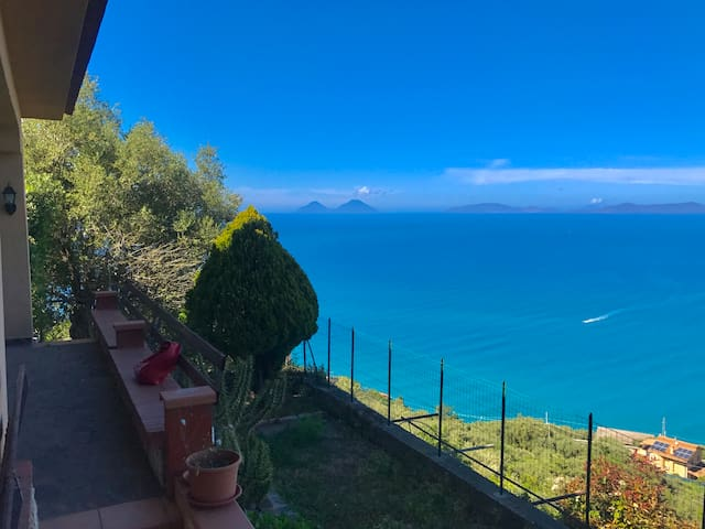 Villa Max, in front of the Aeolian Islands