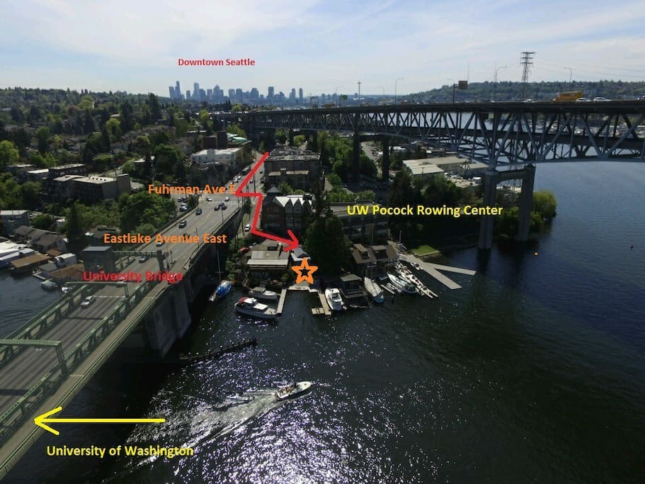 Aerial Photo Directions to House - Located just 2 miles from Downtown Seattle - *Aerial picture looking south