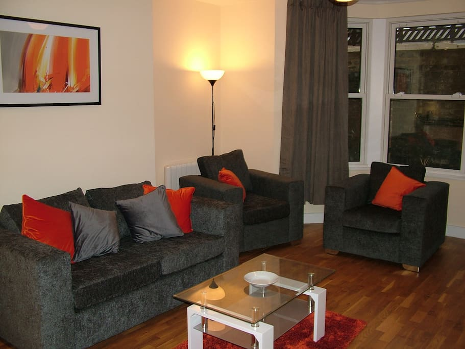 Sofa bed and armchairs
