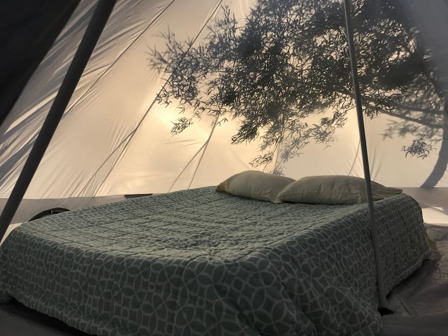 A typical setup inside of our bell tents. Parties of 2+ will have an additional queen bed.