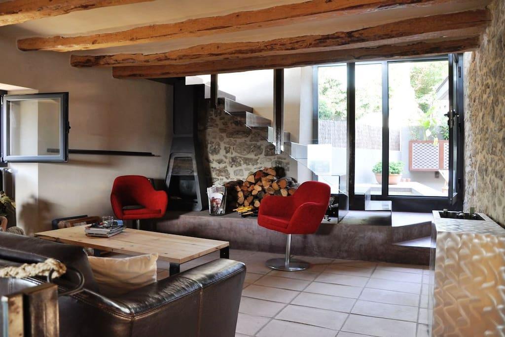 Sala de estar con chimenea y television