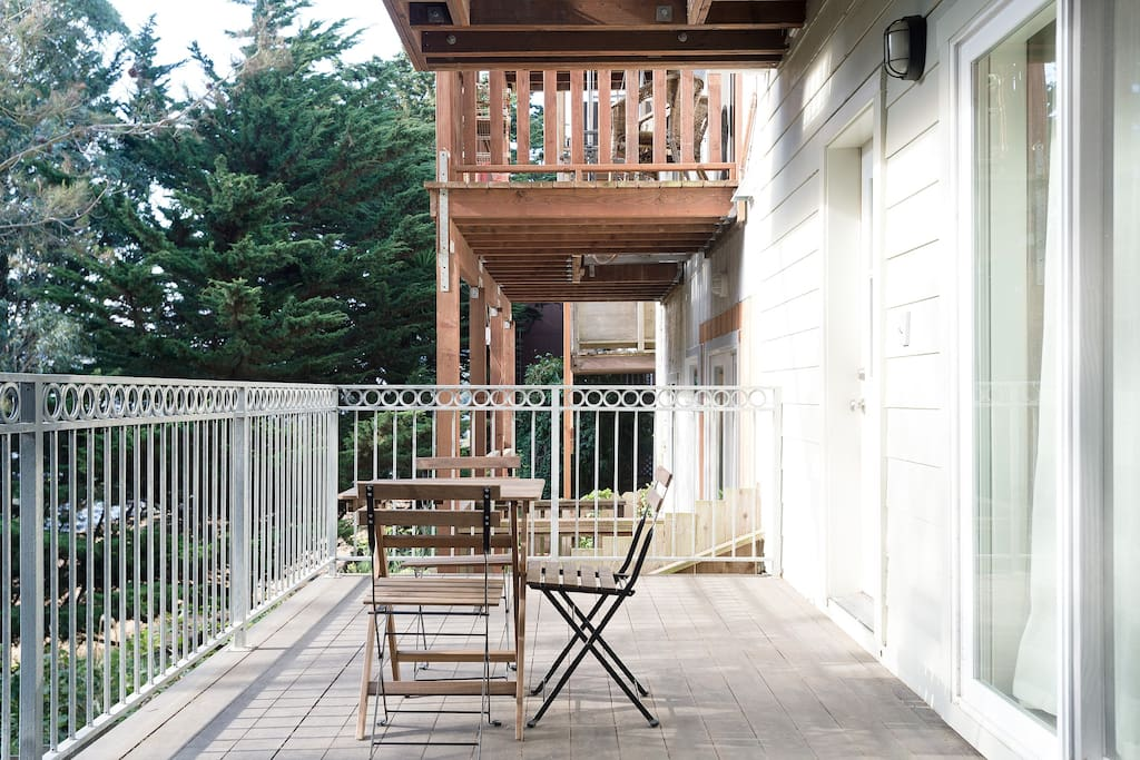 Room opens to this beautiful deck!