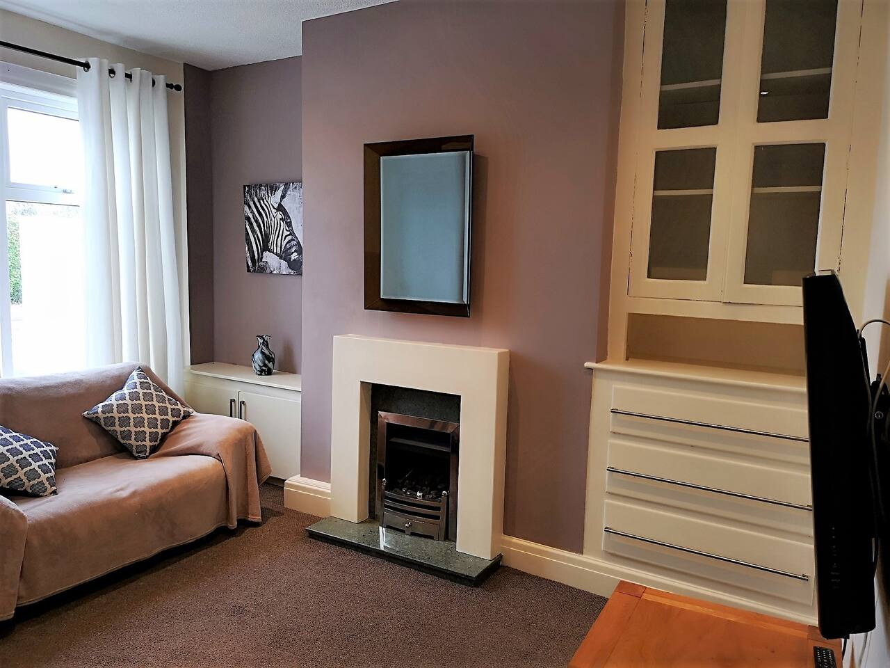 Front lounge with 44 inch Tv and gas fire