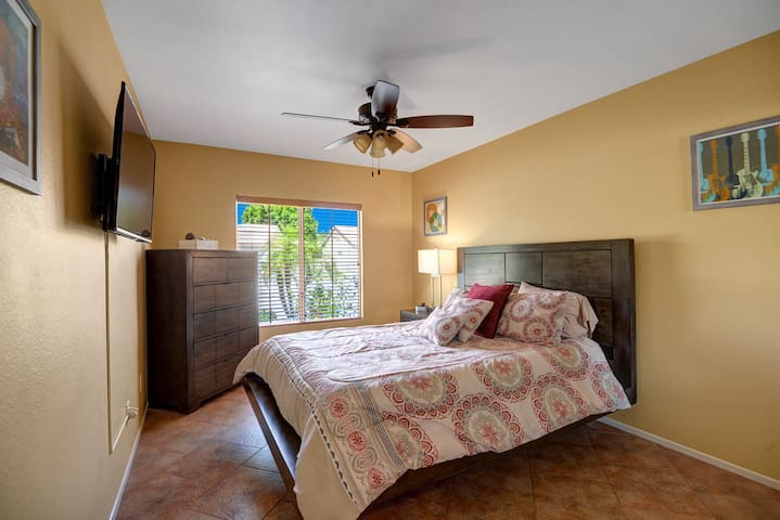 guest bedroom #1 new rustic modern set with queen pillow top mattress.  lamp has USB port for ease of charging devices