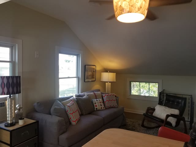 Pull out queen sofa in vaulted living room