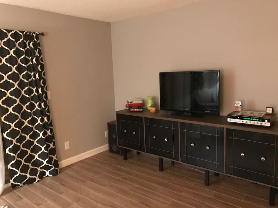 Disconnect and unwind. The entertainment credenza hides Board Games, Wii, radio, and DVD's. There is NO cable television or wifi.