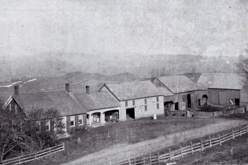 Historic photo of how the farmhouse looked in 1850 when Route 100 was just a dirt road and the Reservoir didn't exist yet.