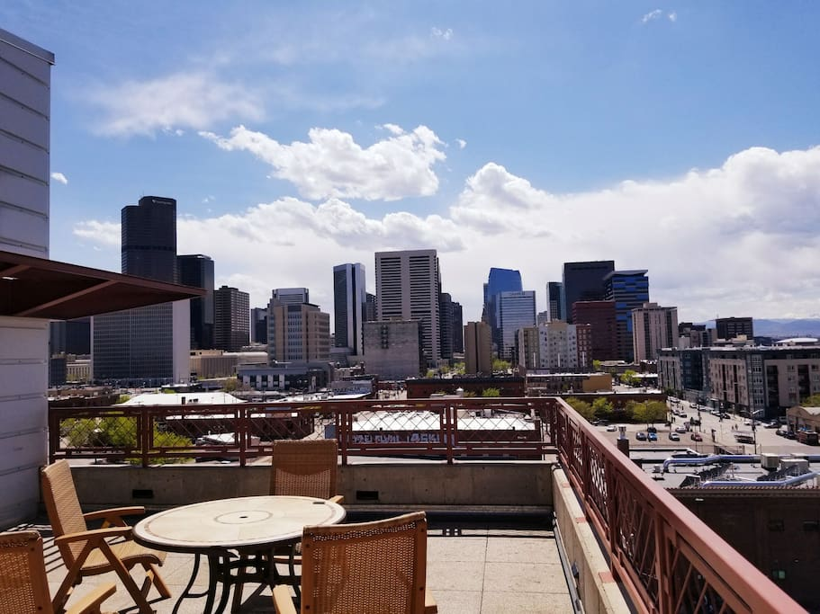 West side of rooftop balcony overlooking Downtown