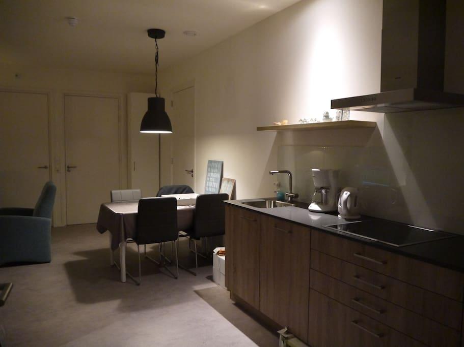 keuken met inductiekookplaat, magnetron en vaatwasmachine