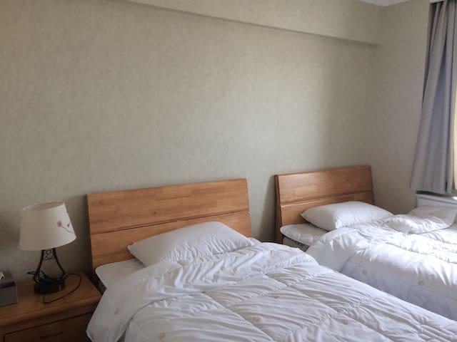 卧室3: 1.2*2.0单人实木床两张,23厘米厚席梦思床垫