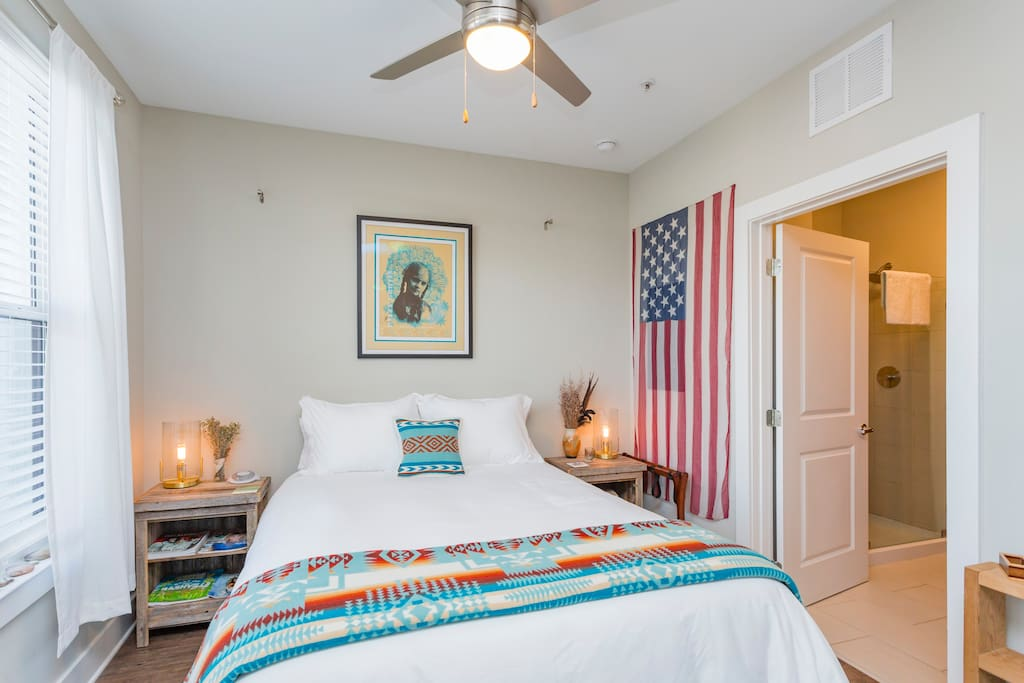 Queen Bed with White Linens