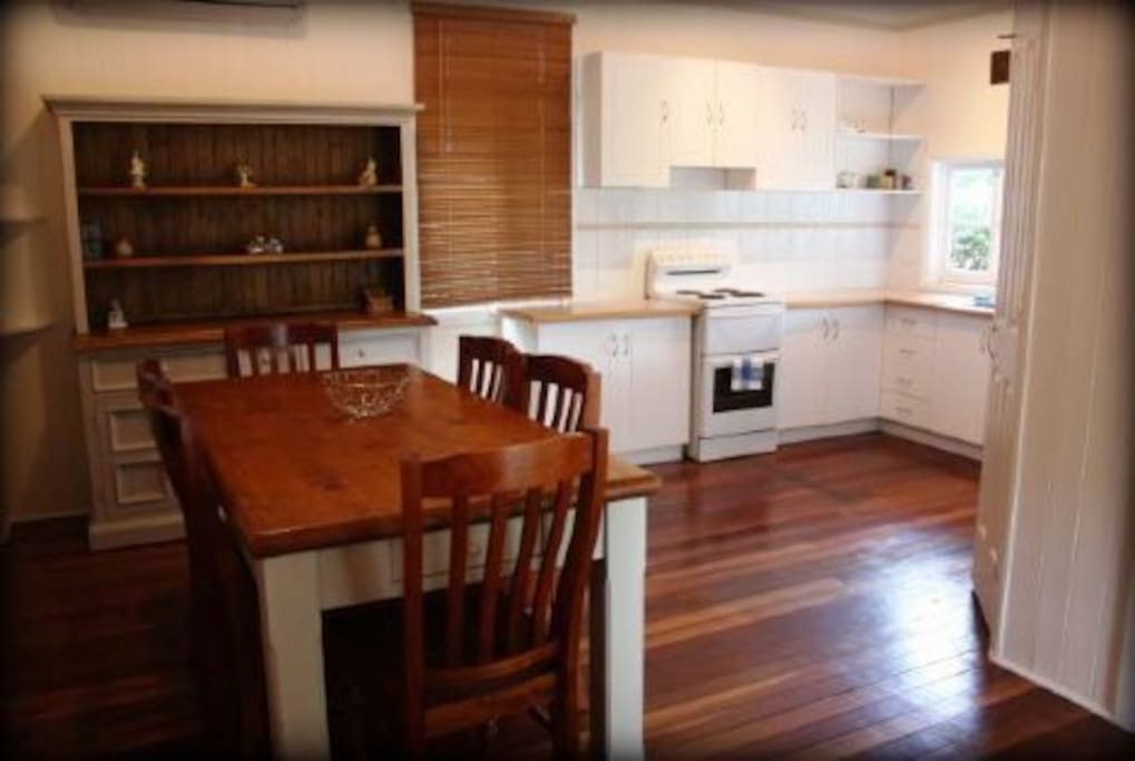 Well appointed Kitchen & dining room with a Fireplace